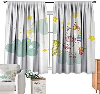 RuppertTextile Customized Curtains Unicorn,Baby Mystic Unicorn Girl Sitting on Fluffy Clouds and Hunting Nursery Image,Green Yellow Suitable for Bedroom Living Room Study, etc.72 Wx63 L