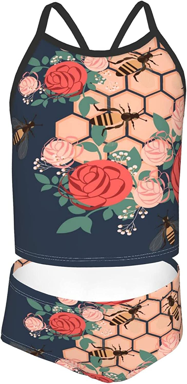 Girls 2 Piece Tankini Swimsuit Set Rose Bumblebee Honey Pink Bikini Beach Sport Swimsuit Comfortable Bathing Suit