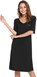 WiWi Womens Soft Bamboo Half Sleeve Nightgown V Neck Nightshirts Lightweight Nightwear Plus Size Sleepwear S-4X