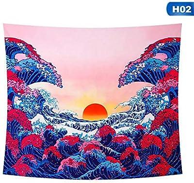 51.2 x 59.1 Ocean Wave Amknn Ocean Wave Tapisserie 3D Motif Coucher de Soleil