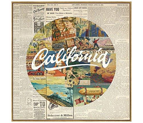 Quadro Colagem Califórnia Etna Multicor