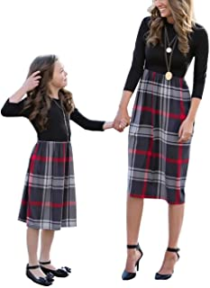 Family Matching Crew Neck Long Sleeve Plaid Dress Mommy and Me High Waist One Piece Stitching Mid-Length Dress