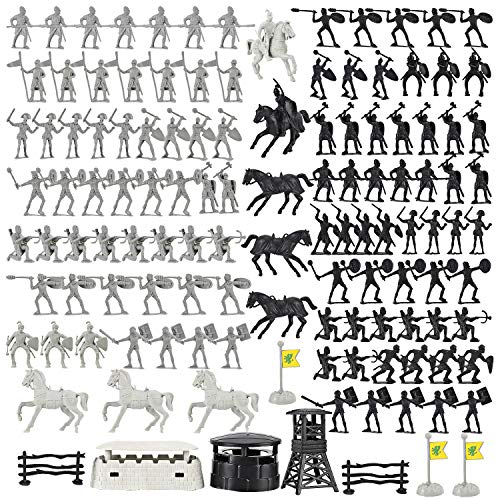 Liberty Imports Action Figures Roman Medieval Knights Army Men Classic Soldiers Toys Playset with Horses and Accessories (120 Pcs)