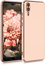 kwmobile TPU Case Compatible with Huawei P20 - Soft Phone Cover with Gloss Finish and Metallic Edge - Rose Gold