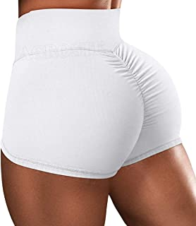 Butt Lifting Yoga Shorts for Women High Waist Tummy Control Hot Pants Textured Ruched Sports Gym Running Beach Shorts