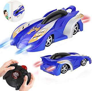 WISHTIME Remote Control Car - Wall Climbing RC Car Defy Gravity Stunt Car Dual Mode 360 Degrees Rotating Vehicle Toy with LED Lights for Kids Toddlers Boy and Girl(Blue)