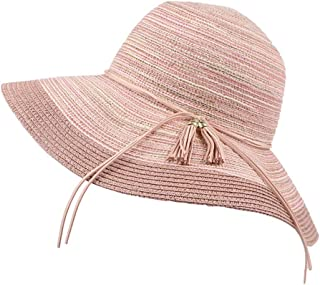 SHYPwM-Hats Sun Hats Ladies Wide Brim Foldable Beach Hat UV Protection Straw Cowboy Hat Adjustable Summer Floppy Straw Straw Sun Hats (Color : Pink, Size : 55-58cm)