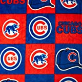 MLB Fleece Chicago Cubs Blocks Red/Royal, Fabric by the Yard
