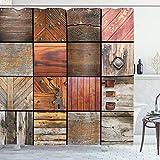 ABAKUHAUS Antiquität Duschvorhang, Holz-Holz-Tür-Key, Waserdichter Stoff mit 12 Haken Set Dekorativer Farbfest Bakterie Resistet, 175 x 180 cm, Schokoladenbraun