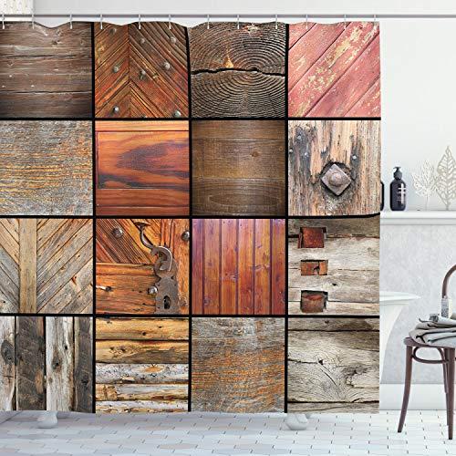ABAKUHAUS Antiquität Duschvorhang, Holz-Holz-Tür-Key, Waserdichter Stoff mit 12 Haken Set Dekorativer Farbfest Bakterie Resistet, 175 x 200 cm, Schokoladenbraun