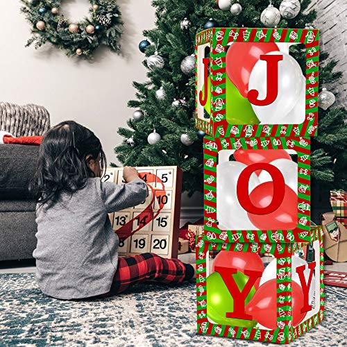2021 Christmas Boxes Party Decorations – 3 pcs Transparent Décor Red Green Boxes Blocks Design for New Year Party Reveal Backdrop