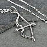 Bow and Arrow Charm Necklace - 925 Sterling Silver, 18'