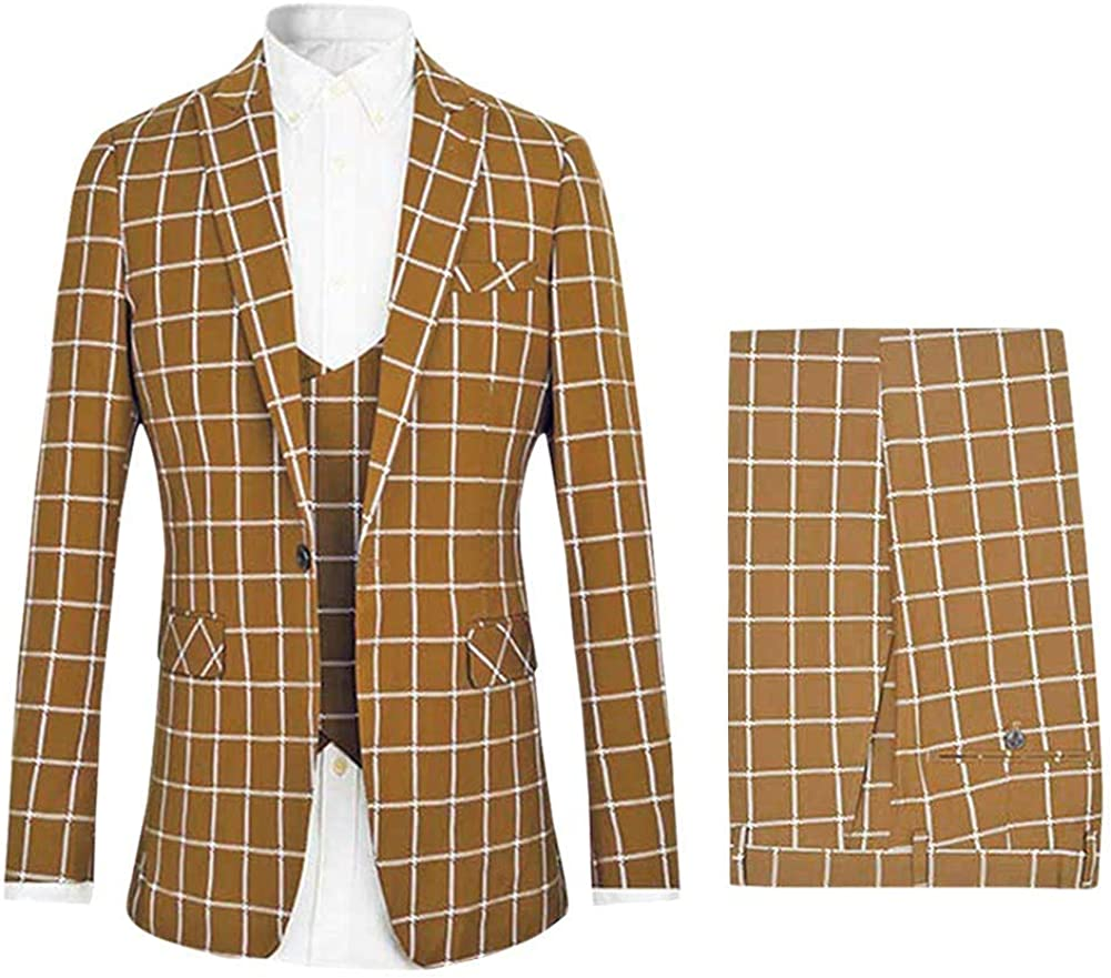 Frank Men's 3 Piece Slim fit Checked Suit Single Breasted Vintage Suits