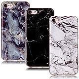 CLM-Tech 3in1 Zubehör Set: 3 x TPU Gummi Schutzhülle Tasche für Apple iPhone 7/8 Hülle Hülle Gel Schale Marmor Muster schwarz weiß bunt Cover