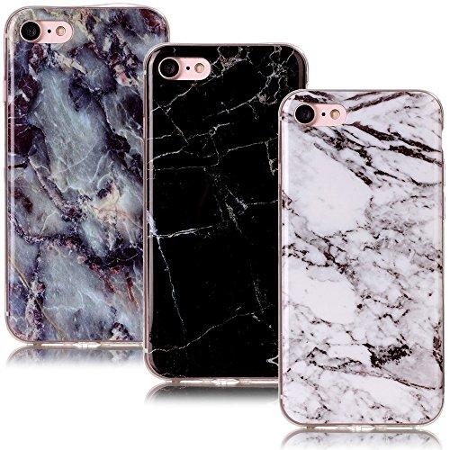 CLM-Tech 3in1 Zubehör Set: 3 x TPU Gummi Schutzhülle Tasche für Apple iPhone 7/8 Hülle Case Gel Schale Marmor Muster schwarz weiß bunt Cover