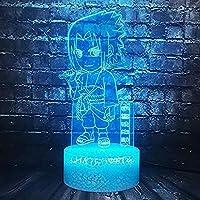 3Dイリュージョンナイトライトキッズナイトライトコミックナルト7色点滅タッチリモートおもちゃの装飾Ledナイトライトキッズ誕生日ギフトUsb充電器