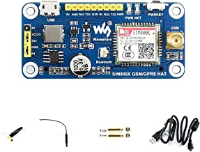 waveshare Raspberry Pi GSM/GPRS/Bluetooth HAT Based on SIM800C Compatible with Pi 2B/3B/3B+/Zero/Zero W,Arduino Supports SMS, GPRS, DTMF, HTTP, FTP, MMS, email for Band GSM 850/EGSM 900/DCS