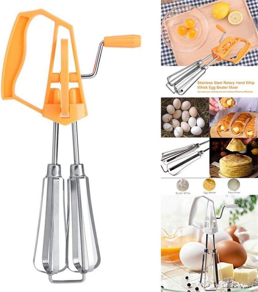 ARTFFEL Hand Whisk Egg Beater Mixer mit Edelstahl-Kurbel Kunststoffgriff for Küche kochend Whipping (Color : Orange) Orange
