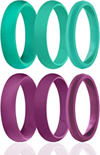 ROQ Silicone Rings for Women - Thin Womens Silicone Rubber Wedding Rings Bands - The 3 Angels Collection - 5.5mm (Dome Sty...