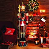 Fraser Hill Farm Life-Size Christmas Décor, 6-FT. Pre-Lit Jeweled African American Nutcracker Greeter with Staf, FFRS065-NC1-RDAA