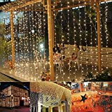 Auelife Curtain Icicle Lights 19.5ft x 9.8ft 600 LED Fairy String Lights with 8 Modes for Wedding Christmas Holiday Party Home Decoration UL Listed(Warm White)
