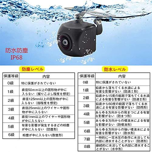 LFSバックカメラリアカメラ高画質58万画素夜でも見える暗視機能広角170°防水IP68車汎用RCA接続ガイドライン表示機能角度調整可能日本語取り付け説明書