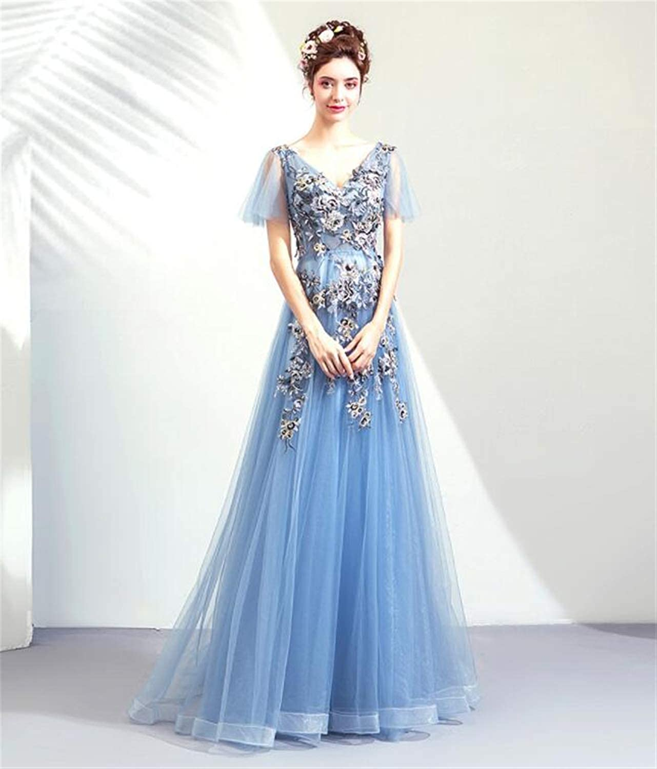 Beautiful Bride Wedding bluee Flowers Lace Tulle Embroidered, Dinner Show Host Dress Dress