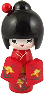 Floral Red Japanese Kimono Smiling Girl Wooden Kokeshi Doll Toy(middle Size)
