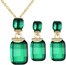Jewelry مجوهرات Elegant Square Gemstone Pendant Jewellery Set Crystal Charms Necklace and Earrings Set Costume Decoration for Women Girl,Colour Name:Blue Square جواهر سازی (Color : Green Square)