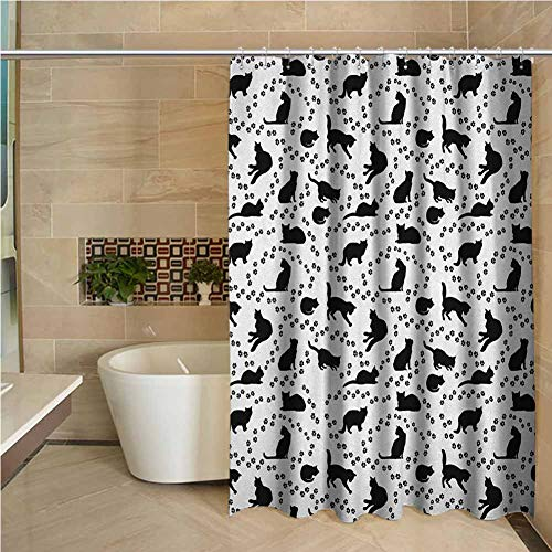 Lohebhuic Cat Hotel Quality Polyester Shower Curtain Cat Silhouette and Animal Tracks Pattern Paws Footprints Kitties Different Poses Shower and Bathtub W55 x L70 Inch Black and White