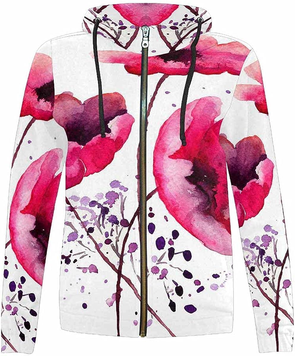 InterestPrint Beautiful Pink Rose Max 45% OFF Super special price in The Hoodie Garden Zip Full