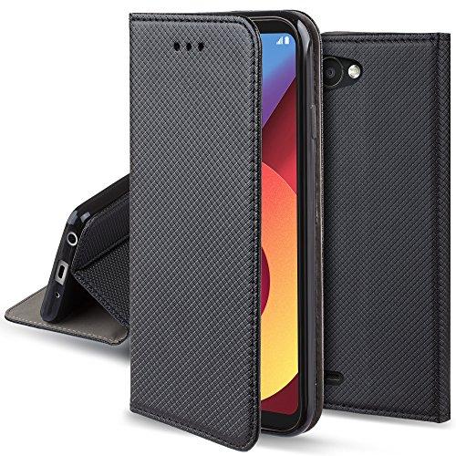 Moozy Cover per LG Q6, Nero - Custodia a Libro Flip Smart Magnetica con Appoggio e Porta Carte