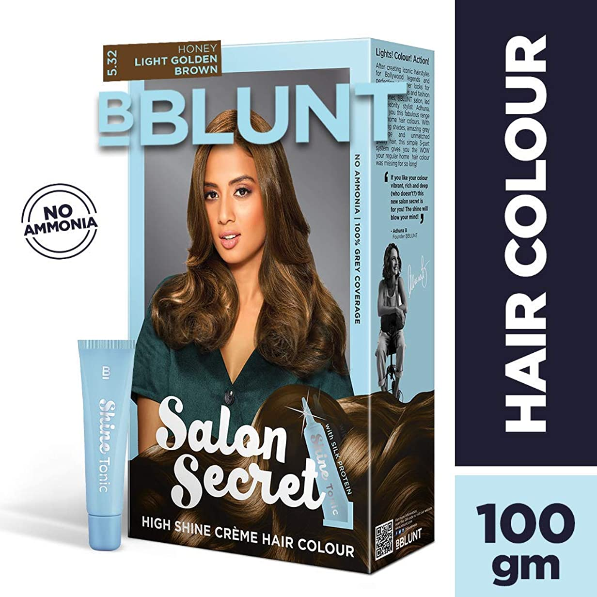 実行脚平衡BBLUNT Salon Secret High Shine Creme Hair Colour, Honey Light Golden Brown 5.32, 100g with Shine Tonic, 8ml