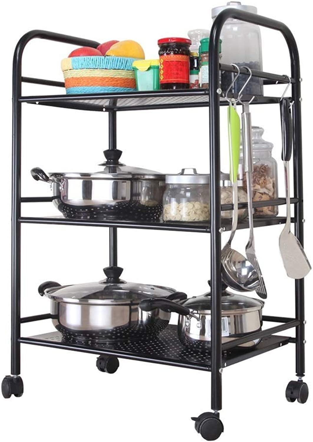 RMJAI Storage Racks 3—Shelf Shelving UnitKitchen Shelf Microwave Shelf Suitable for Kitchen, Home, Office (Size   S)