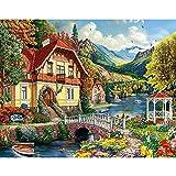 5D DIY diamante pintura paisaje casa jardín cuadrado diamante bordado conjunto mosaico diamante arte imagen Mural A4 50x70cm