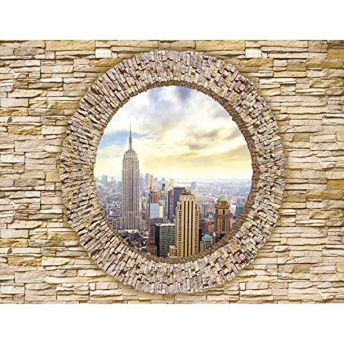 Fototapete Fenster New York 352 x 250 cm Vlies Tapeten Wandtapete XXL Moderne Wanddeko Wohnzimmer Schlafzimmer Büro Flur Gelb 9109011a