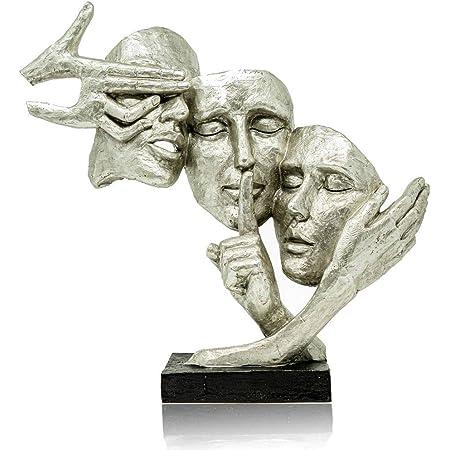Formano Masques de décoration - Masques argentés de qualité supérieure comme décoration pour la maison ou comme cadeau d'anniversaire.