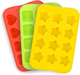 Candy Chocolate Molds Silicone 3 Pack DIY Mold Use for Cake Jelly Gummy Pudding and Ice Cube Tray Including Hearts Stars Squares Mini Muffin Pan …