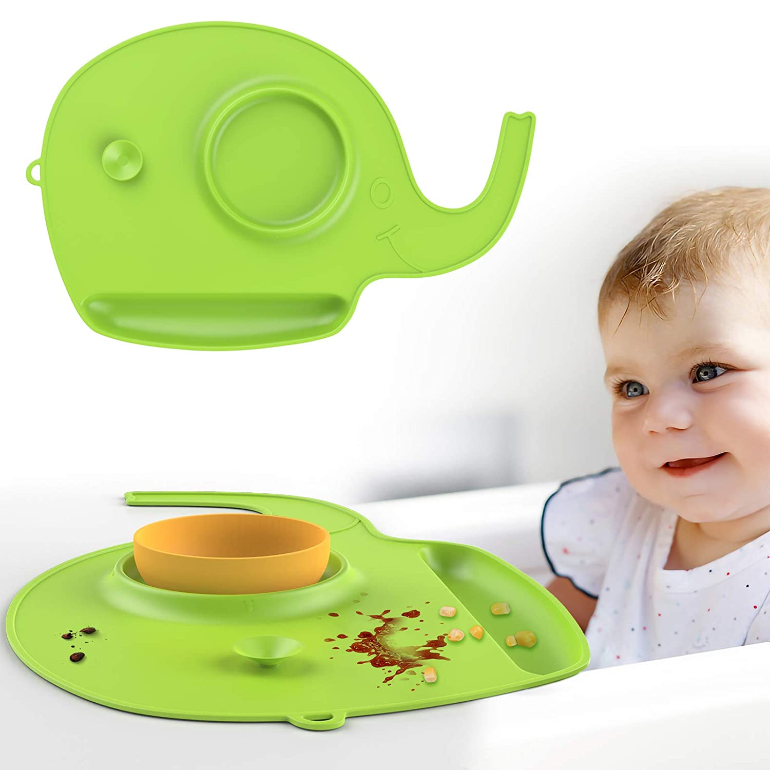 Zooawa Kids Placemat, Non-Slip Food-Grade Silicone Baby Food Catching Placemat with Suction, Foldable Mat Washable Silicone placemats Soft Heat-Resistant for Kids Babies and Toddlers, Green