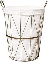 JUAN Wrought Iron Hamper Bathroom Laundry Basket Toy Storage Basket (Color : Gold, Size : 42 * 60cm)