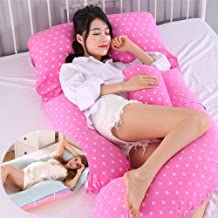WSYK Almohada Embarazada Dormir Multifuncional con Cool Mat Almohada De Embarazo De Algodón En Forma De G Separable para Aliviar El Dolor En Las Piernas Y La Cintura,Polka Dot Pink