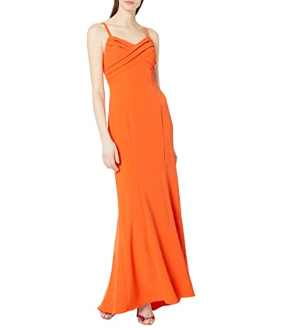 Adrianna Papell Pleated Mermaid Gown (Neon Tangerine) Women