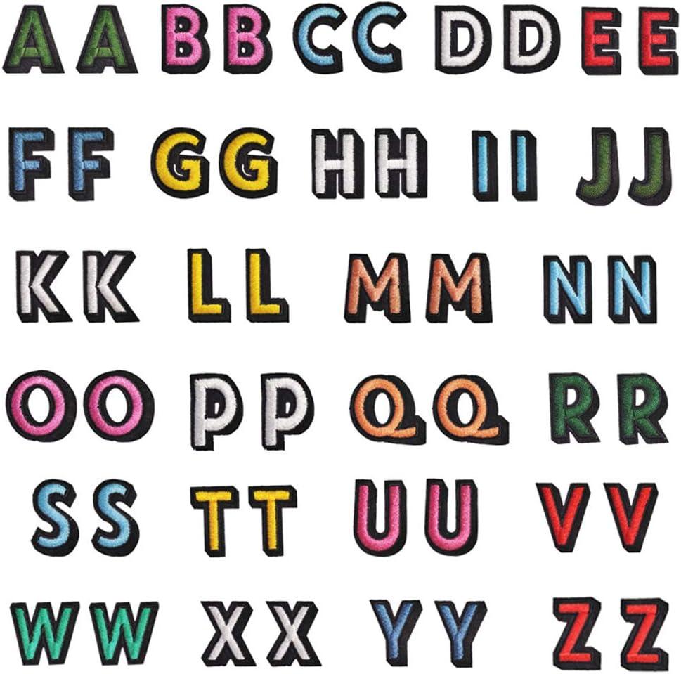Zasiene Letras Termoadhesivas para Ropa 52 Piezas Parches para Ropa Parches Bordado Apliques de Alfabeto con Borde Negro A-Z para Reparar Costura Parches Artesanal de Bricolaje Decorar
