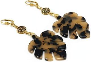 Orecchini MONSTERA DELICIOSA ottone 24 carati foglia d'oro marrone foglia filodendro resina regali di Natale cerimonia di ...