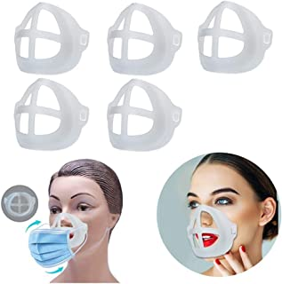 Diagtree 5 Pcs Face Mask Inner Support Frame Homemade Cloth Mask Cool Silicone Bracket More Space for Comfortable Breathin...