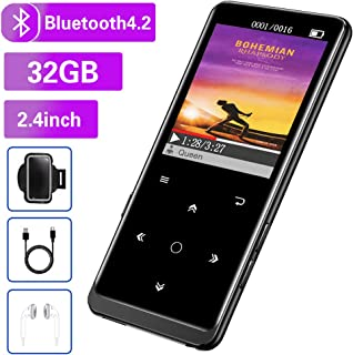"32GB MP3 Player, Mibao MP3 Player with Bluetooth 4.2, Music Player with FM Radio, Recording, 2.4"" Screen, HiFi Lossless Sound, Support up to 128GB(Earphone, Sport Armband Included) …"