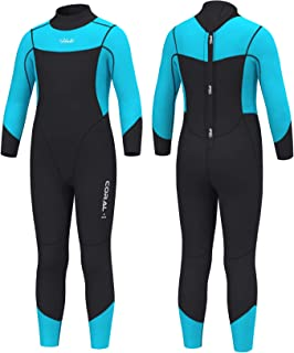 Happy Cherry Boys Full Body Diving Suit High Compression Long Sleeve Front Zipper Foot Stirrups Swimming Bodysuit 6-7T Blue