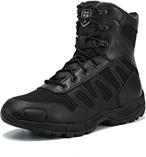 IODSON US New Military Athletic Tactical Comfort Leather Boots Mens' Ultra-Light Combat Boots Waterproof