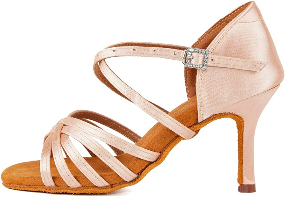 VCIXXVCE Women Latin Dance Shoes Ballroom Party Salsa Dance Practice Performance Shoes High Heel 213