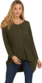Annabelle Women's V-Neck Long Sleeve Oversize Hi and Low Fashion Top S-3XL